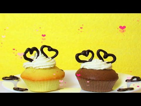 How To Make Easy Cupcakes With Chocolate Heart - Valentine's Day Simple & Quick Recipe For Beginners