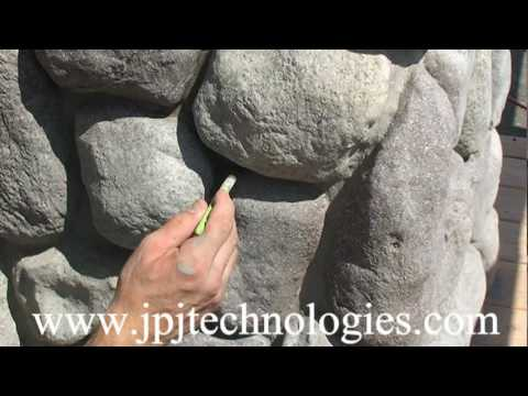 River Rock Column Install video 3 Faux rock -synthetic rock construction