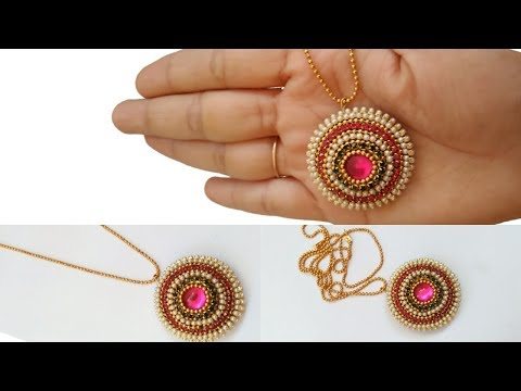 How To Make  Pendant With Quilling paper/paper strips||Ball Chain..!