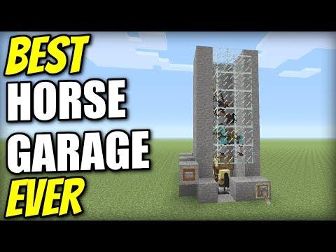 Minecraft PS4 - HORSE GARAGE [ Best Ever ] Redstone Tutorial - PE / Xbox / PS3 / Switch