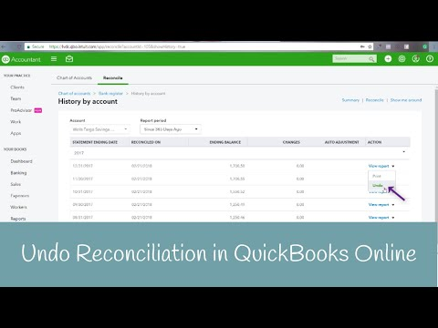 How to undo a reconciliation in QuickBooks Online