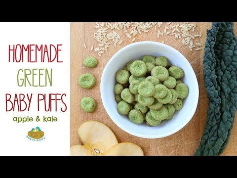 Baby Puffs with kale and apple - baby food recipe +6M