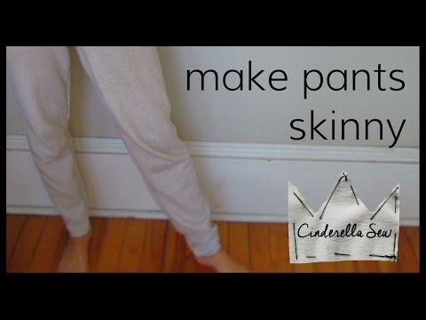How to make skinny pants - Make wide leg sweatpants slimmer - Easy DIY jogger pants - Cinderella Sew