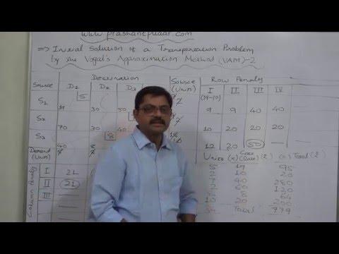 Transportation Problem - 7 Vogal's Approximation Method - VAM 2