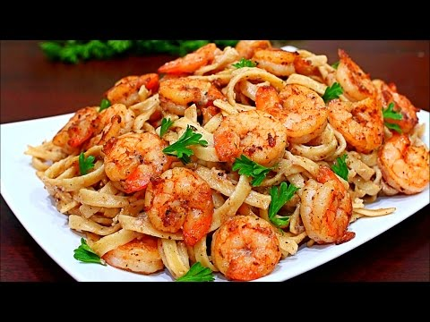 Skinny Cajun Shrimp Alfredo Pasta Recipe - Healthy Alfredo pasta