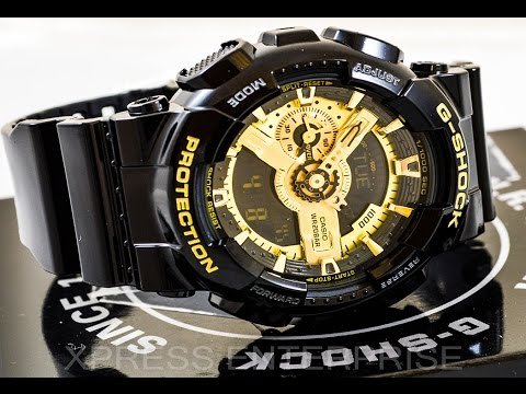Casio GSHOCK GA110GB-1A REVIEW | How To Set Time | LIGHT DISPLAY