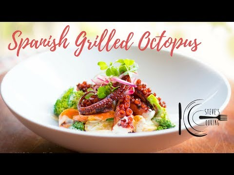 SPANISH GRILLED OCTOPUS WITH BROCCOLI & POTATO SALAD | stevescooking