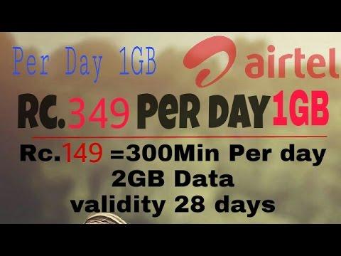 Airtel Per Day 1GB Data  Rc.349 || 1 year plans