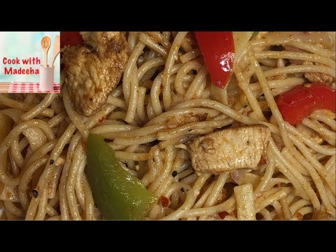 Tasty Restaurant Style Chicken Spaghetti Recipe-Chicken And Vegetable Spaghetti By Cook With Madeeha