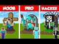 Minecraft NOOB Vs PRO Vs HACKER STATUE HOUSE BUILD CHALLENGE In Minecraft Animation