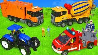 Pelleteuse, Camion de pompier, camion à ordures, jouets pour enfants - Tractor Toys for kids