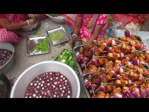 Paneer Satay Sticks   Amazing Crispy Vegetable Snacks   Indian Street Food at Marriage Ceremony