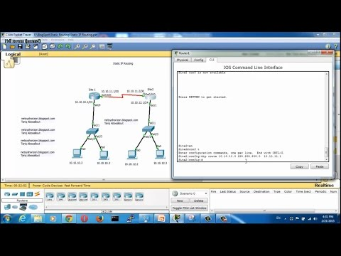 Static Routing Configuration in Packet Tracer - Static Routing Between Two Routers