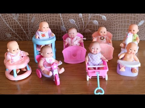 Mini Baby Dolls with Nursery  Cradle, High Chair, Walker, Swing, Bathtub, Infant seat, bicycle