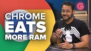 Chrome eats more RAM, but it