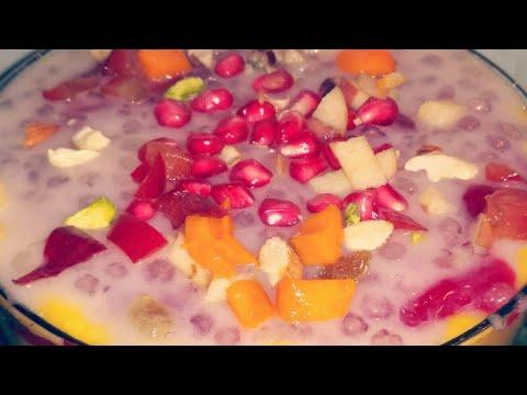 Sabudana Custard / Sago Pudding Recipe How to make Sabudana with Fruit Salad (Navratri Special )