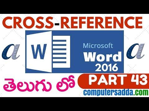 Ms-word 2016 in Telugu 43(Cross-Reference) (www.computersadda.com)