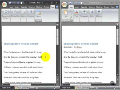 Microsoft Word 2007 ENG TB 08 17 Compare Documents Side by Side