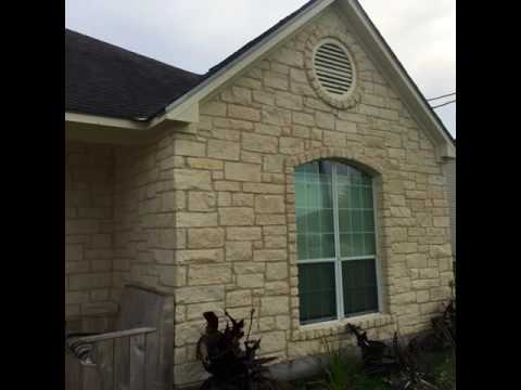 Cleaning Algae from Limestone Brick and Paint Prep on home in Buda Texas - CenTex Nice & Clean