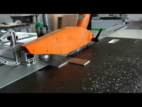 cutting aluminum with sliding panel saw