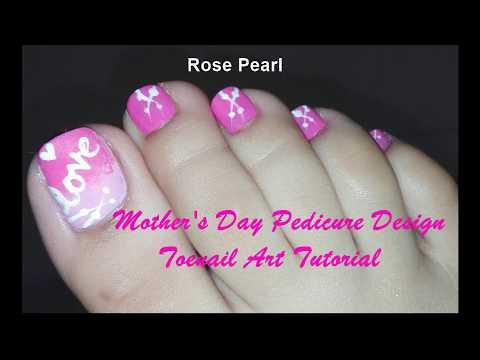 Mother's Day Toenail Art Tutorial: Easy DIY Pedicure Design | Rose Pearl