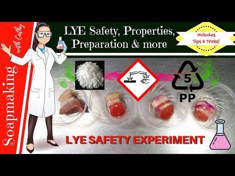 Lye safety, lye properties, lye preparation for cold process soap making hot process soap making 104