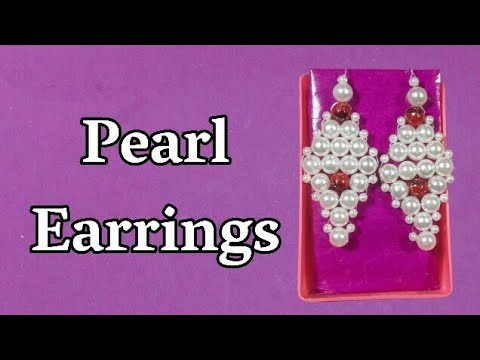 How To Make Pearl Dangle Earrings | Making Of Pearl Earrings At Home | DIY Arts And Crafts