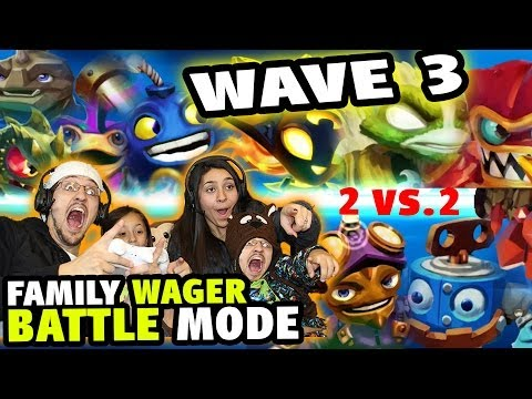 Family Food Wager Battle Mode w/ Wave 3 - Skylanders Swap Force (4 Players + Ring Out)