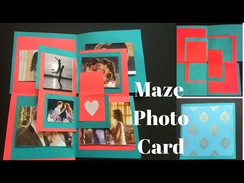 How to make Maze Photo Card   Explosion box card   Scrapbook card