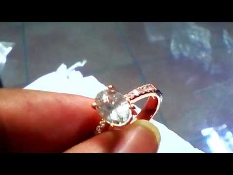 Rose gold white sapphire engagement ring Hand made by Sumuduni Gems