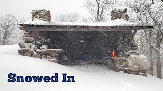 Stone Shelter Camping in a Snow Storm