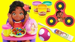DISNEY MOANA Learns Good Manners Education for Kids, Eats Candy Play Doh Playset Fidget Spinner Game