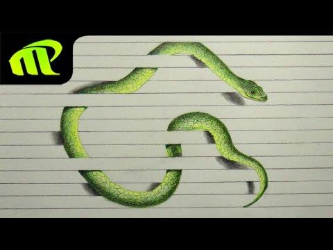 3D Paper Illusion Snake Drawing -  Trick Art | Time Lapse