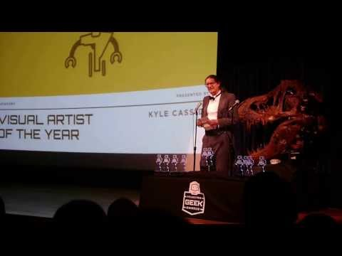 kyle cassidy presenting at the 2013 philly geek awards