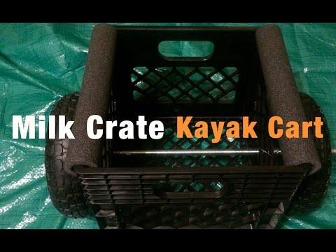 Homemade Kayak Milk Crate Cart