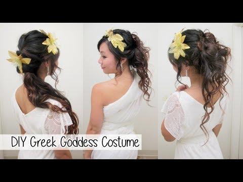 DIY Greek Goddess Costume l Hair Accessories & No Sew Toga