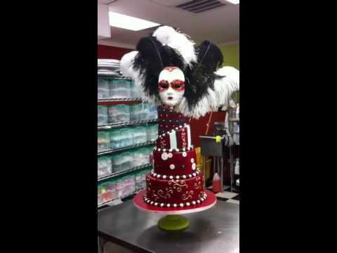 Venetian cake design mask