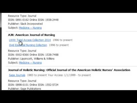 Using the A-Z list for electronic journals