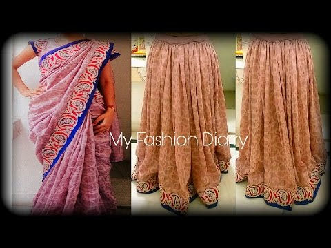 REUSE OLD SAREE & PETICOT, making lahnga from saree with border | DIY|