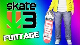 Skate 3 Funny Moments - Wipeouts, Tornado, Hall of Meat, Coffin, Flying Banana, Slam Dunk!