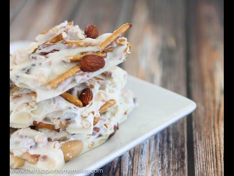 White Chocolate Pretzel Mixed Nut Bark