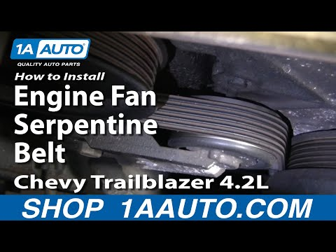 How To Install Repair Replace Engine Fan Serpentine Belt Chevy Trailblazer 4.2L 02-06 1AAuto.com