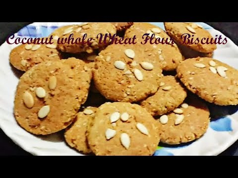 Coconut Whole Wheat Atta Biscuits| Eggless & Healthy Whole wheat coconut cookies |oats cookies nikki