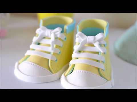 Fondant Baby Shoes video tutorials(Converse Cake Topper 2)