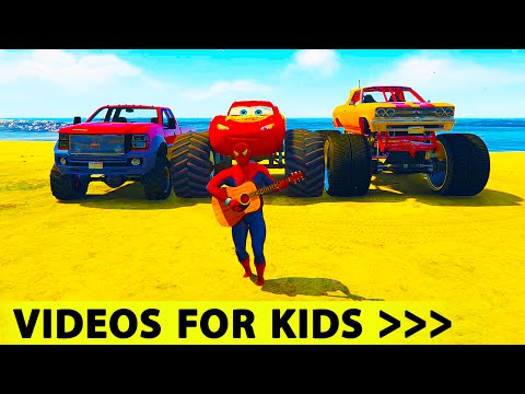Cars Spiderman Cartoon LIGHTNING McQueen MONSTER TRUCK with Nursery Rhymes Songs for Kids
