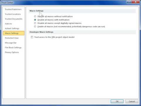 Change the Security Level for Macro Virus Protection - Word 2010