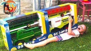 BRUDER TOYS Traktor  Combine harvester - Live UNBOXING    Kids videos  