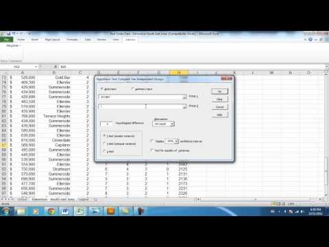 Two Tailed Hypothesis Test using Megastat for Excel (P-Value)