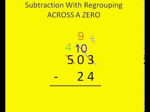 Subtraction With Regrouping Across Zero Tutorial