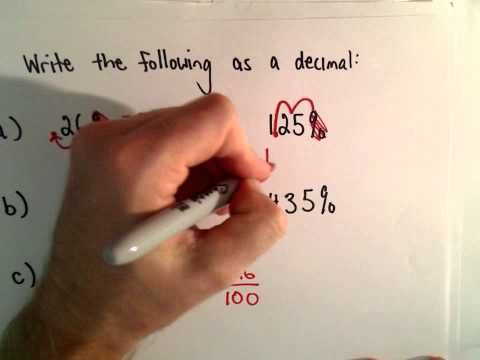 Writing a Percentage as a Decimal ( 5 examples)